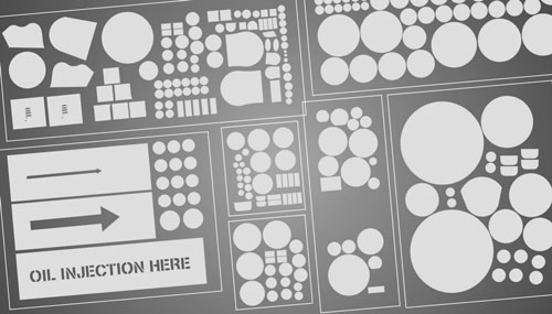 Custom cut stencils and paint mask kits